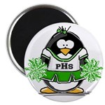 Green CheerLeader Penguin Magnet