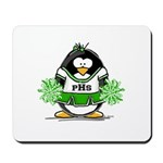 Green CheerLeader Penguin Mousepad