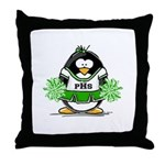 Green CheerLeader Penguin Throw Pillow