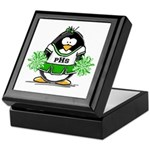 Green CheerLeader Penguin Keepsake Box