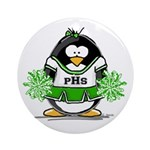 Green CheerLeader Penguin Ornament (Round)