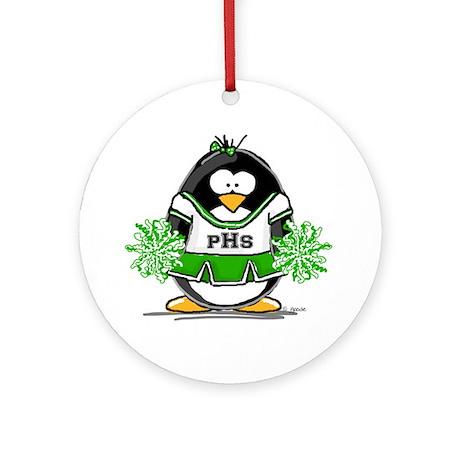 Green CheerLeader Penguin Ornament (Round)