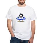 Blue CheerLeader Penguin White T-Shirt