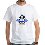 Blue CheerLeader Penguin White T-Shirt
