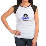 Blue CheerLeader Penguin Women's Cap Sleeve T-Shir