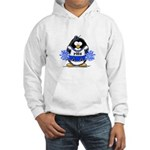 Blue CheerLeader Penguin Hooded Sweatshirt