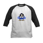 Blue CheerLeader Penguin Kids Baseball Jersey