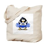 Blue CheerLeader Penguin Tote Bag