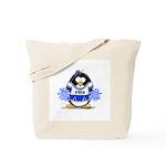 Blue CheerLeader Penguin Tote Bag