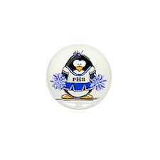 Blue CheerLeader Penguin Mini Button