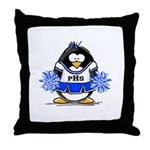Blue CheerLeader Penguin Throw Pillow