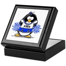 Blue CheerLeader Penguin Keepsake Box
