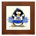 Blue CheerLeader Penguin Framed Tile