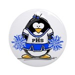 Blue CheerLeader Penguin Ornament (Round)