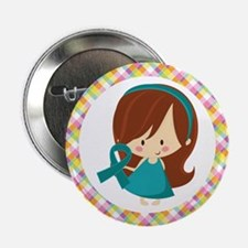 "Teal Ribbon Girl Awareness 2.25"" Button"
