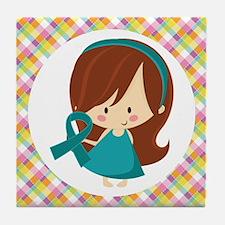 Teal Ribbon Girl Awareness Tile Coaster