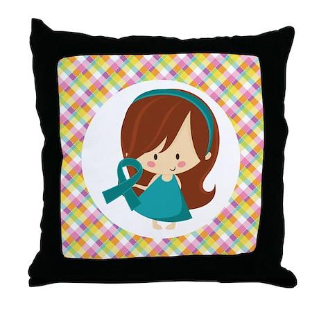 Teal Ribbon Girl Awareness Throw Pillow