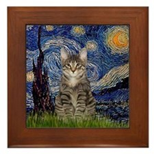 Starry Night & Tiger Cat Framed Tile