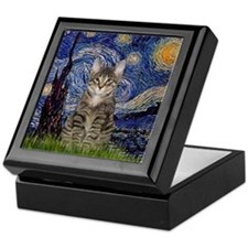 Starry Night & Tiger Cat Keepsake Box