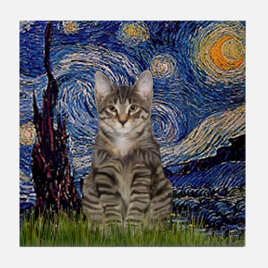 Starry Night & Tiger Cat Tile Coaster
