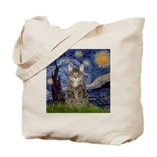 Starry Night & Tiger Cat Tote Bag