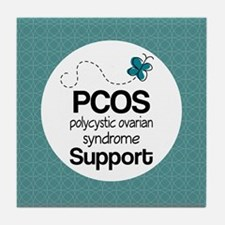 PCOS Teal Butterfly Awareness Tile Coaster