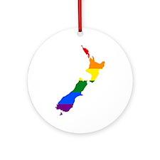 Rainbow Pride Flag New Zealand Map Ornament (Round