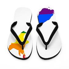 Rainbow Pride Flag New Zealand Map Flip Flops