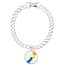 Rainbow Pride Flag New Zealand Map Bracelet