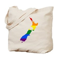Rainbow Pride Flag New Zealand Map Tote Bag