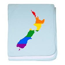 Rainbow Pride Flag New Zealand Map baby blanket