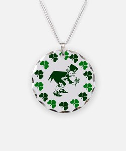 Leprechaun Shamrocks Necklace Circle Charm