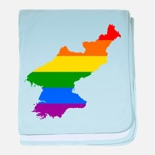 Rainbow Pride Flag North Korea Map baby blanket