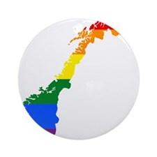 Rainbow Pride Flag Norway Map Ornament (Round)