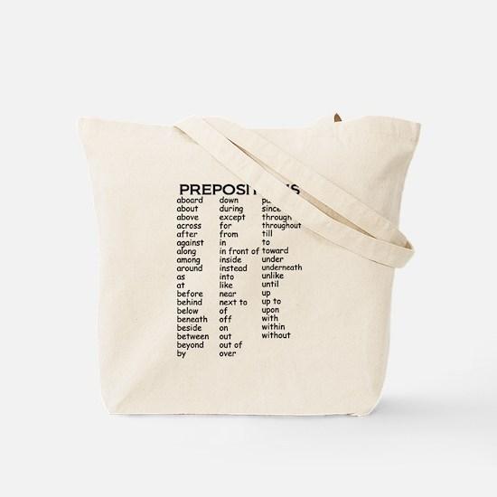 Preposition Tote Bag