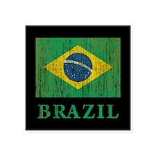 "Vintage Brazil Square Sticker 3"" x 3"""