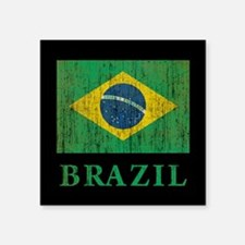 "Vintage Brazil Square Sticker 3"" x 3"""
