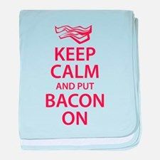 Keep Calm and put Bacon On baby blanket