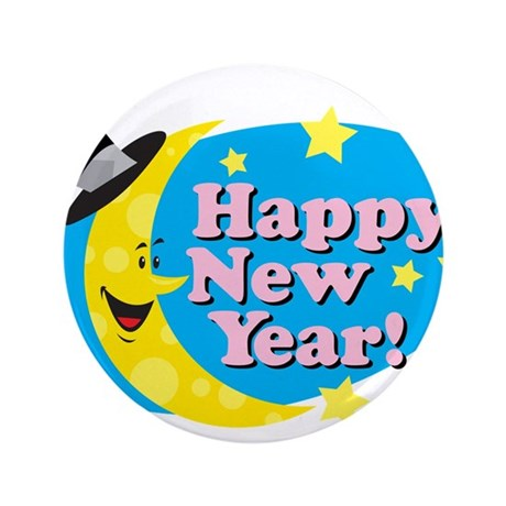 """Happy New Year 3.5"""" Button"""
