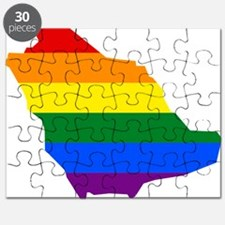 Rainbow Pride Flag Saudi Arabia Map Puzzle