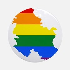 Rainbow Pride Flag Serbia Map Ornament (Round)