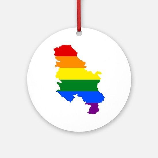 Rainbow Pride Flag Serbia Map Ornament (Round)