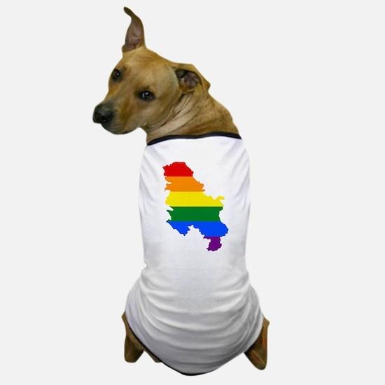 Rainbow Pride Flag Serbia Map Dog T-Shirt