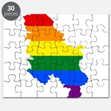 Rainbow Pride Flag Serbia Map Puzzle