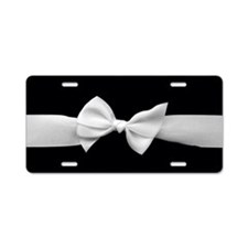White Ribbon bow Aluminum License Plate