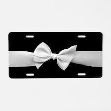 White Ribbon bow Aluminum License Plate