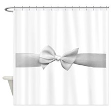 White Ribbon bow Shower Curtain