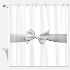 White Ribbon bow Shower Curtain