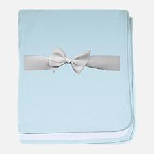 White Ribbon bow baby blanket
