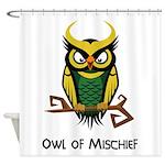 Owl of Mischief Shower Curtain